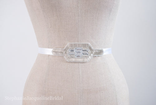 Hand beaded gatsby style Anastasia bridal belt