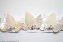 Close up of handmade leaf sequins Aphrodite bridal belt