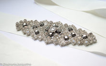 Close up of hand beading on Arabella bridal belt