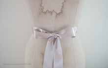 Oyster satin ribbon bow back of Arianne bridal belt