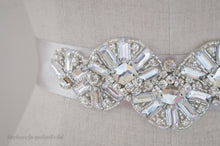 Hand embellished vintage style Arianne Bridal Belt beading close up