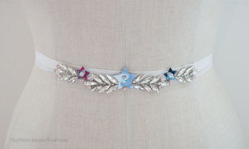 Hand beaded star Arielle belt