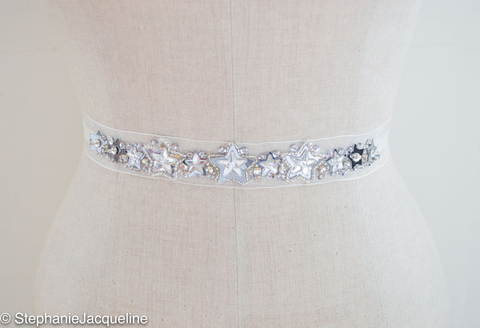 Astral silver star sequin hand beaded bridal belt