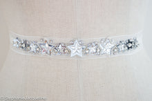 Close up of Astral silver sequin handmade star bridal belt