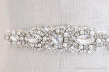 Close up of the beading on the Agatha bridal sash