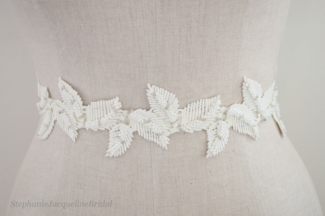 Adele embroidered leaf bridal belt