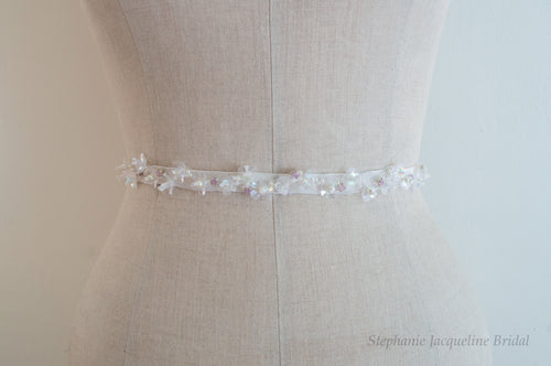 Adeline Hand Beaded Floral Bridal Belt on mannequin
