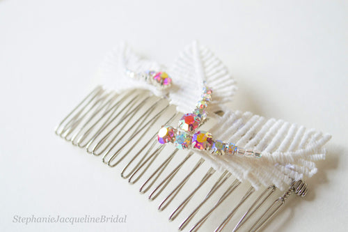 Sabrina leaf hair comb with iridescent pink beading