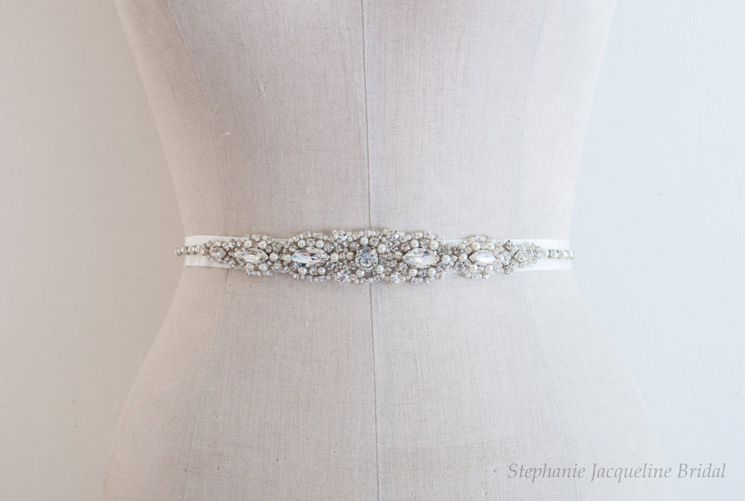 Agatha hand beaded bridal belt