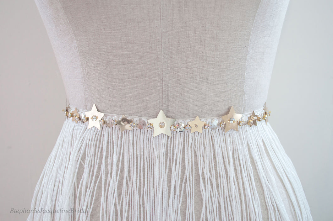 Alyssa hand beaded star sequin fringe bridal belt