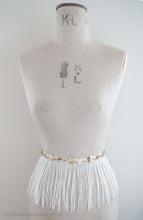 Alyssa fringed bridal belt on a mannequin