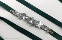 hand embellished starry bridal belt on dark green sash