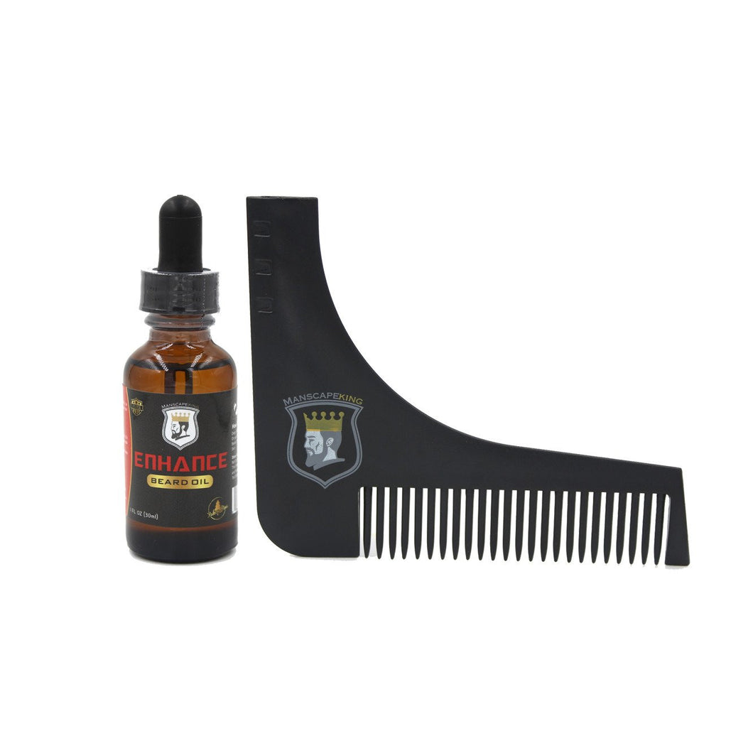 ManscapeKing™ Beard Oil x Beard Shaper Comb Bundle