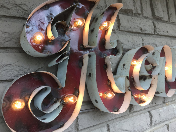 Lighted Recycled Metal Signs