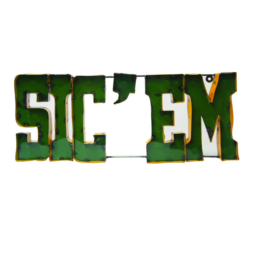 "Baylor University ""Sic 'em"" Recycled Metal Wall Decor"