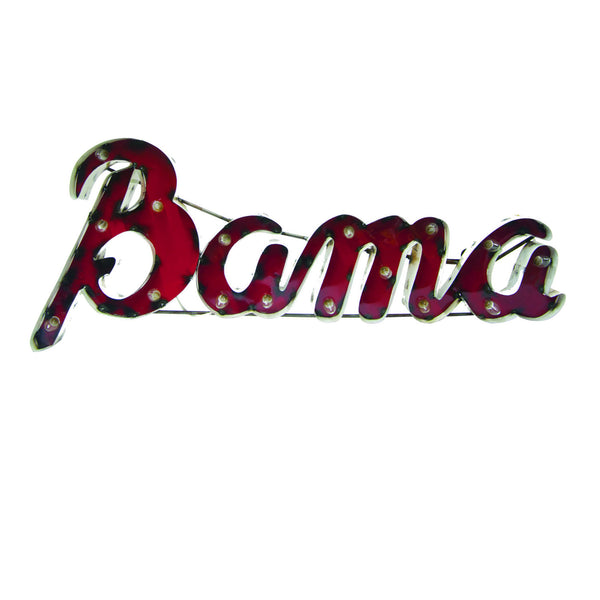 "Alabama ""Bama"" Lighted Reycled Metal Wall Decor"