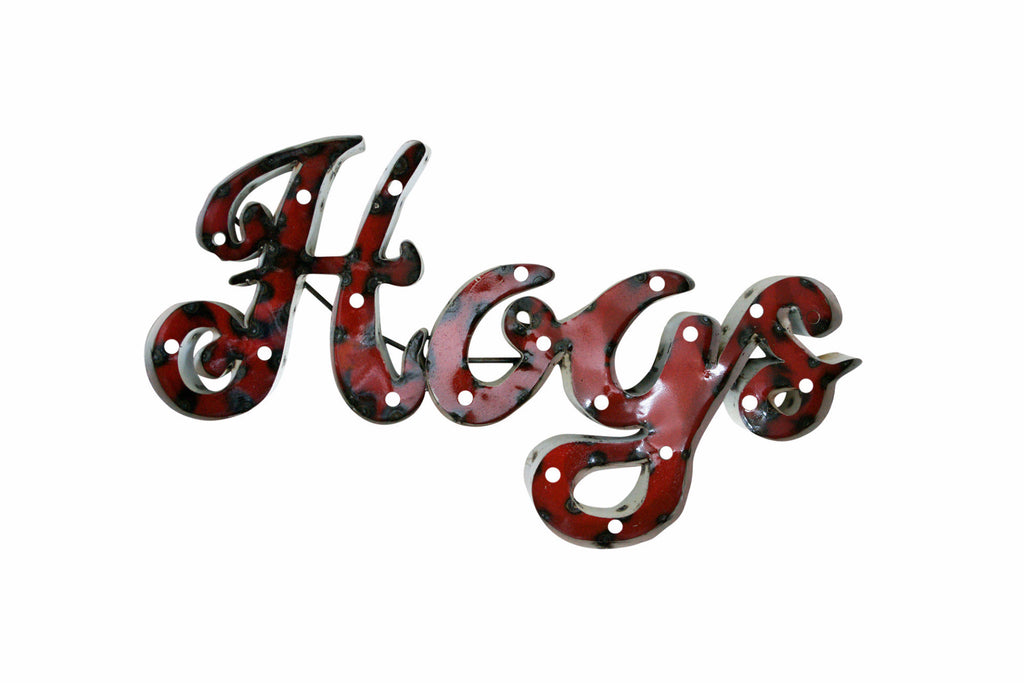 "University of Arkansas ""Hogs"" Lighted Recycled Metal Wall Decor"