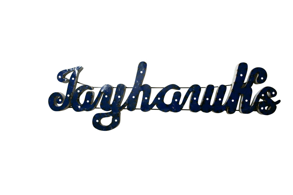 "University of Kansas ""Jayhawks"" Lighted Recycled Metal Wall Decor"