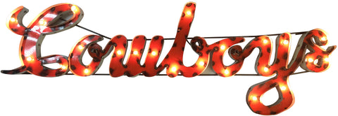 "Oklahoma State University ""Cowboys"" Lighted Recycled Metal Wall Decor"