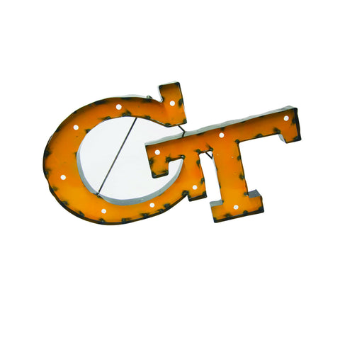 "Georgia Tech ""GT"" Logo Lighted Recycled Metal Wall Decor"