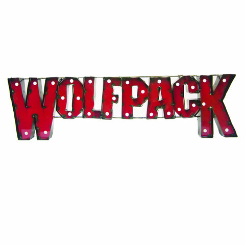 "NC State University ""Wolfpack"" Lighted Recycled Metal Wall Decor"