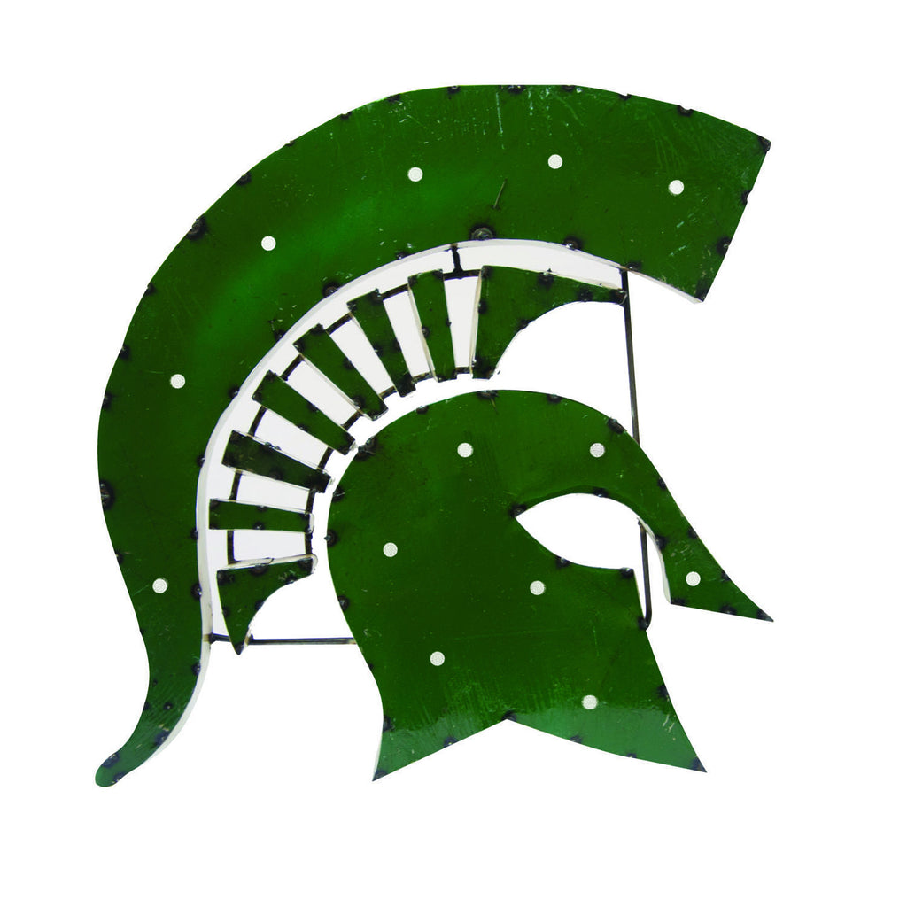 Michigan State Spartans Head Lighted Recycled Metal Wall Decor
