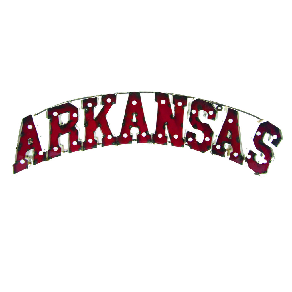 "University of Arkansas ""Arkansas"" Lighted Recycled Metal Wall Decor"