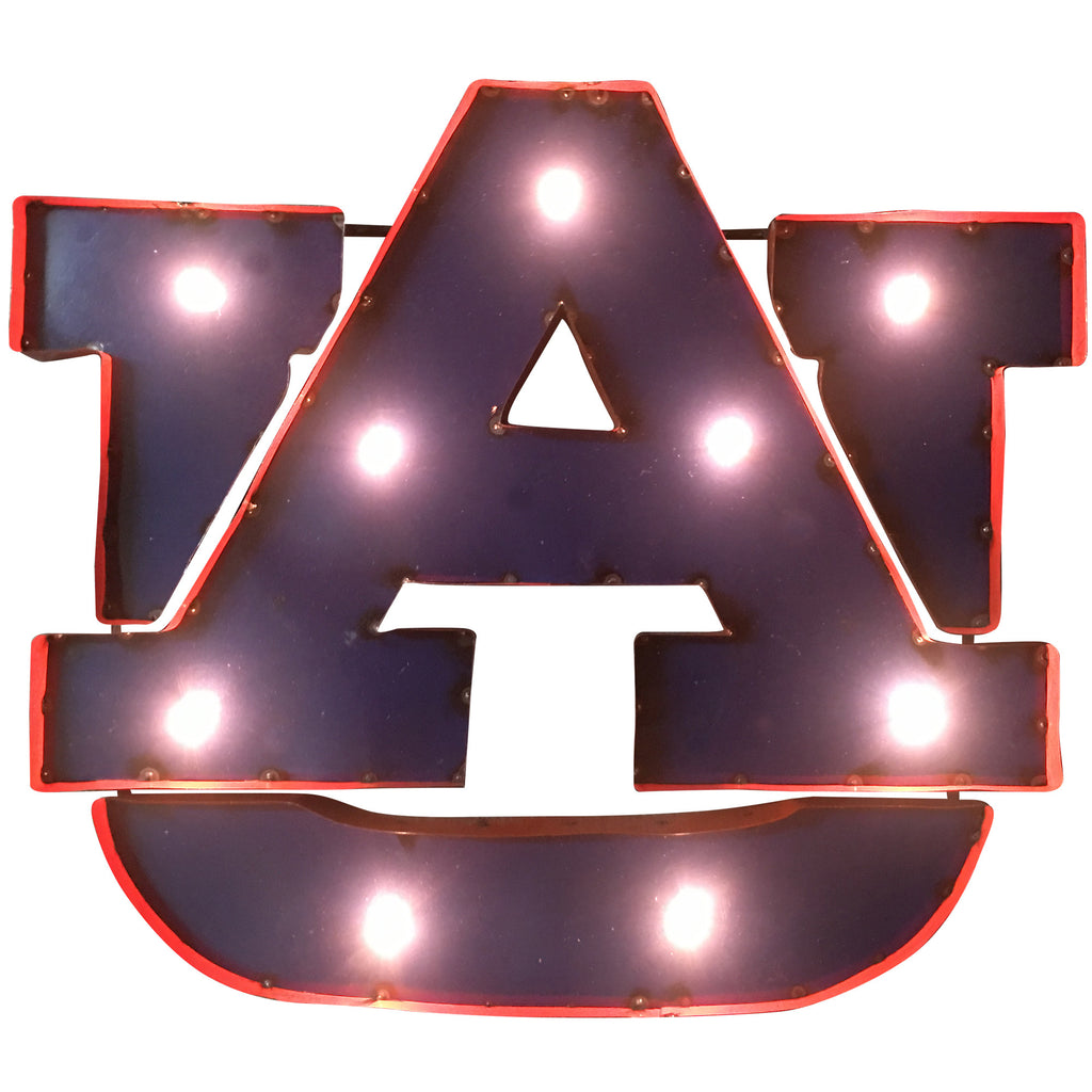"Auburn University ""AU"" Classic Logo Lighted Recycled Metal Wall Decor"