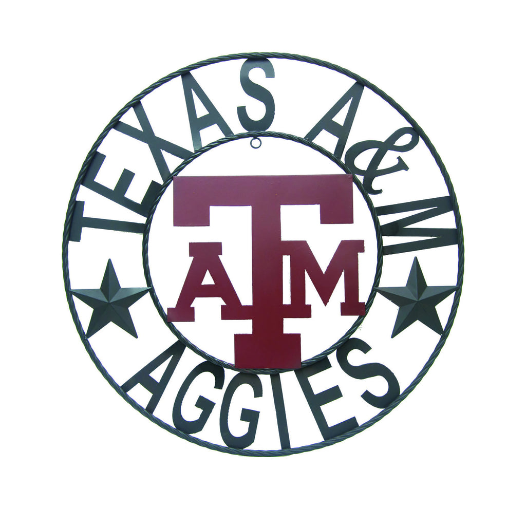 "Texas A&M University ""Texas A&M Aggies"" Round Wrought Iron Wall Decor"