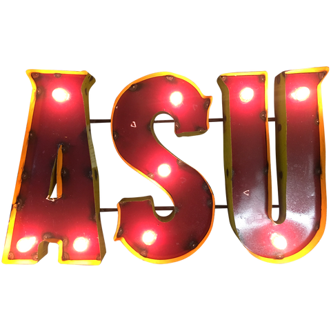 "Arizona State University ""ASU"" Lighted Recycled Metal Wall Decor"