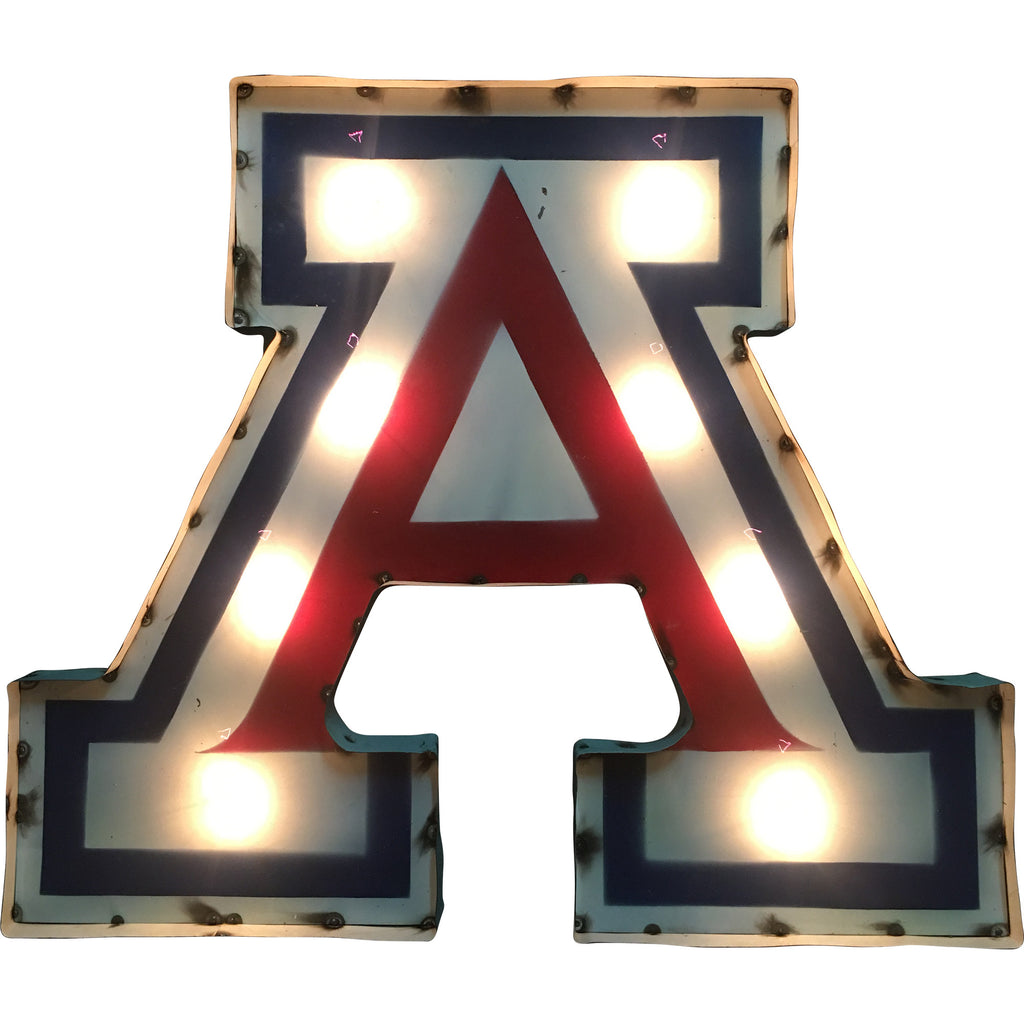 "University of Arizona ""A"" Logo Lighted Recycled Metal Wall Decor"