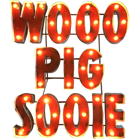 "University of Arkansas ""Wooo Pig Sooie"" Lighted Recycled Metal Wall Decor"