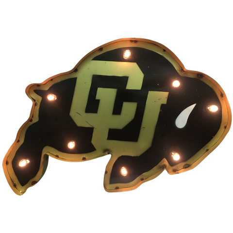 "University of Colorado ""CU"" Buffalo Lighted Recycled Metal Wall Decor"