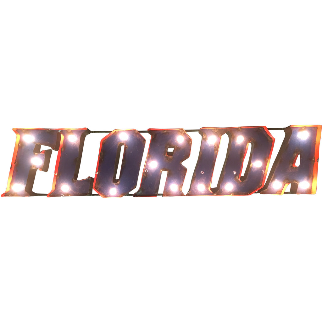 "University of Florida ""Florida"" Lighted Recycled Metal Wall Decor"