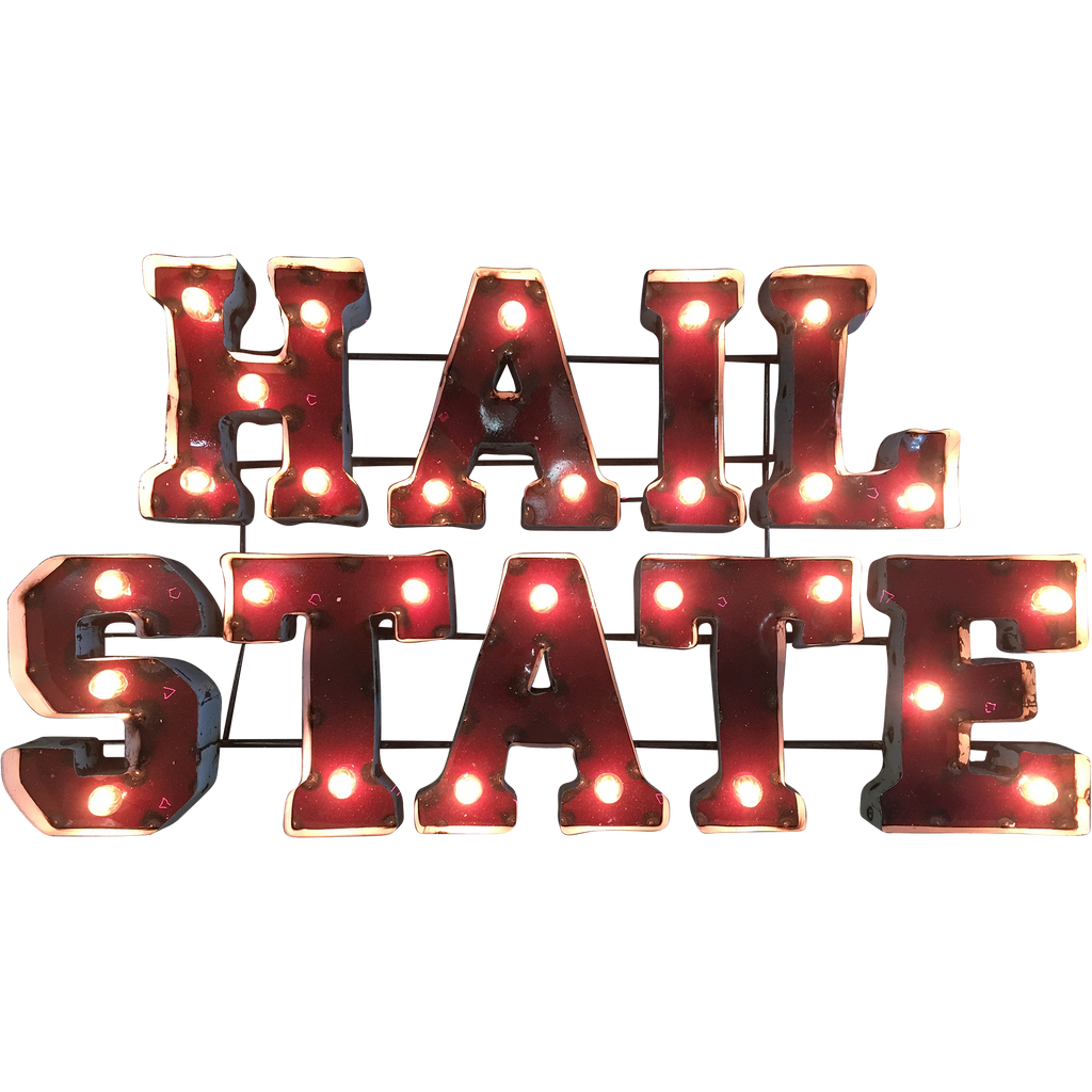 "Mississippi State ""Hail State"" Lighted Recycled Metal Wall Decor"