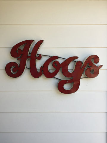 "University of Arkansas ""Hogs"" Recycled Metal Wall Decor"