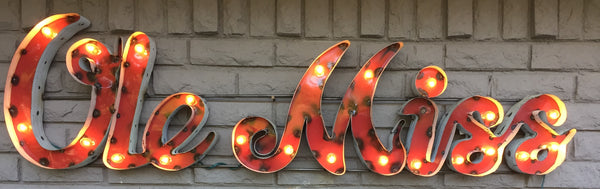 "University of Mississippi ""Ole Miss"" Lighted Recycled Metal Wall Decor"
