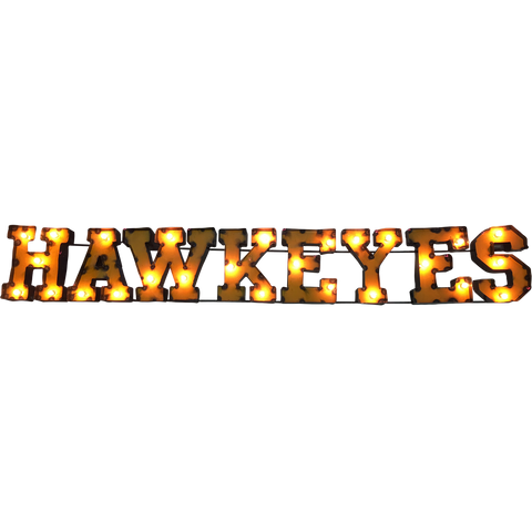 "Iowa ""Hawkeyes"" Lighted Recycled Metal Wall Decor"