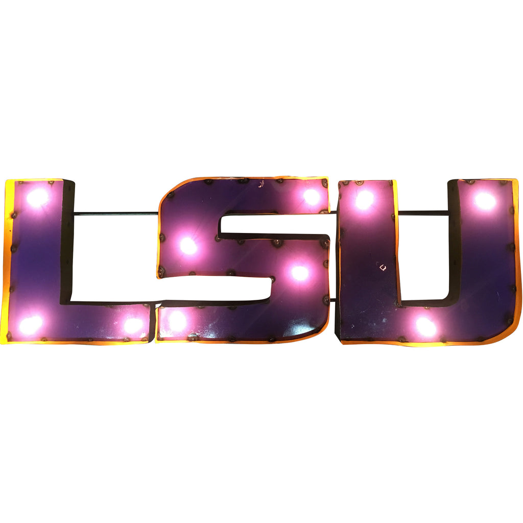 "Louisiana State University ""LSU"" Logo Lighted Recycled Metal Wall Decor"