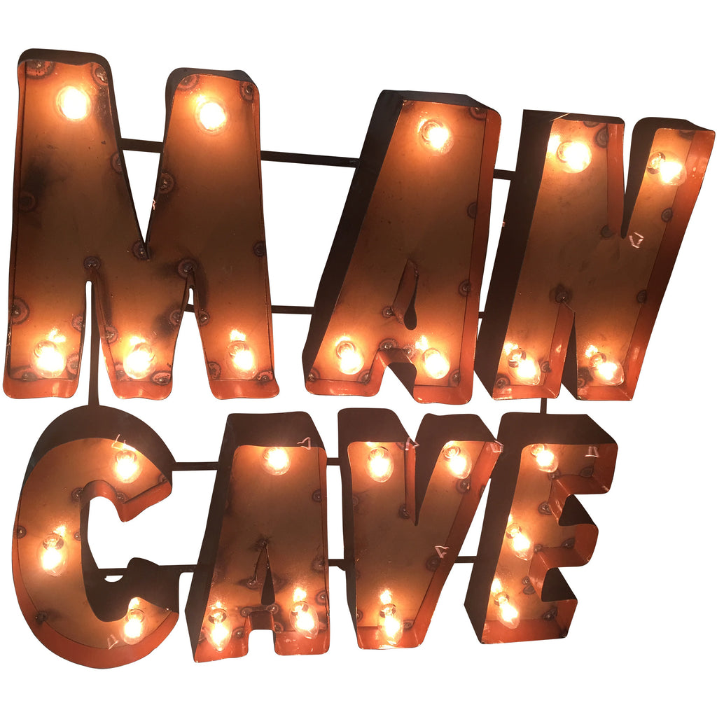 """Man Cave"" Lighted Recycled Metal Wall Decor"