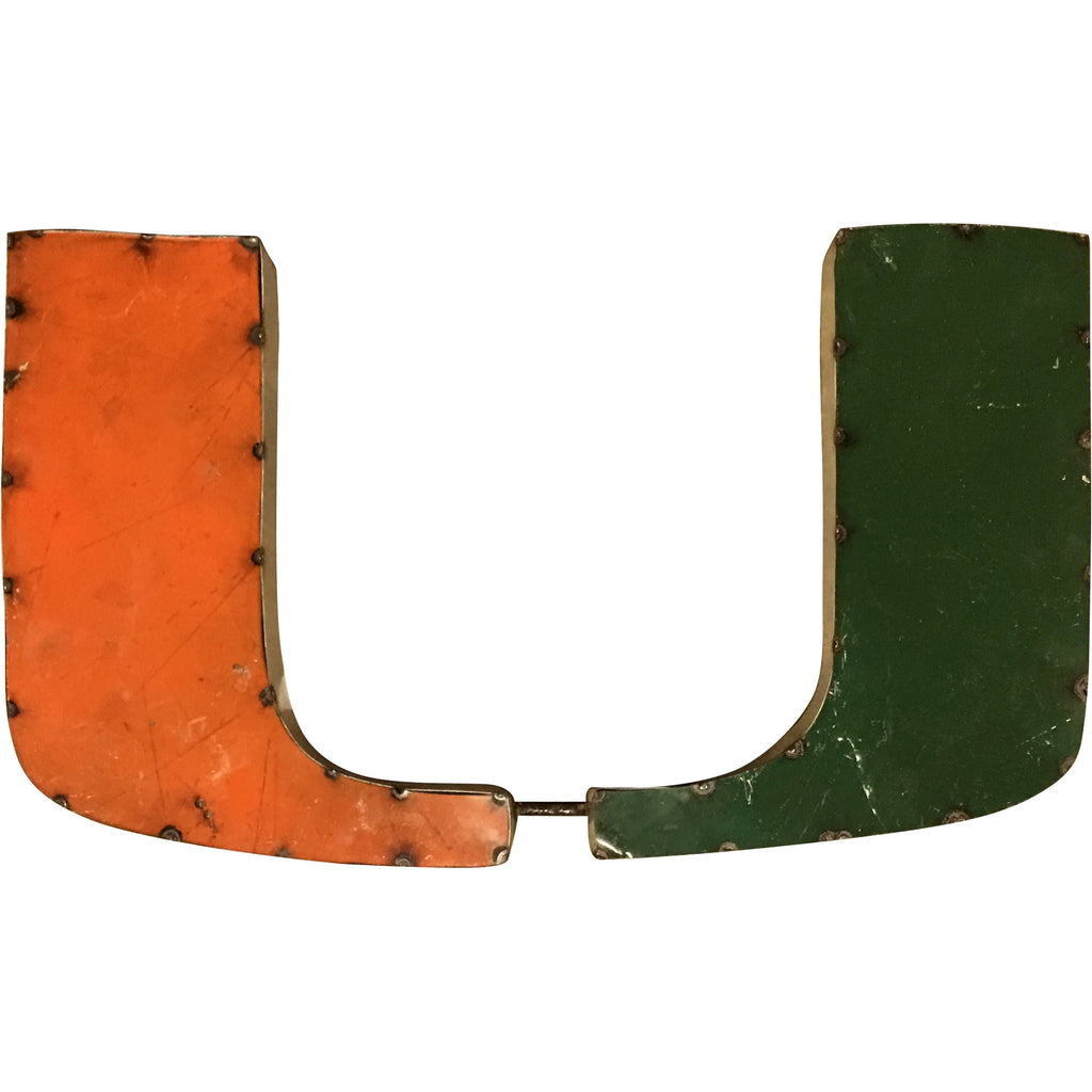 "University of Miami ""U"" Logo Recycled Metal Wall Decor"
