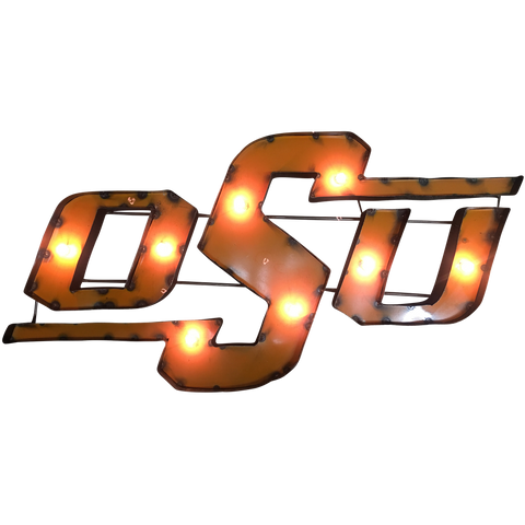 "Oklahoma State University ""OSU"" Lighted Recycled Metal Wall Decor"
