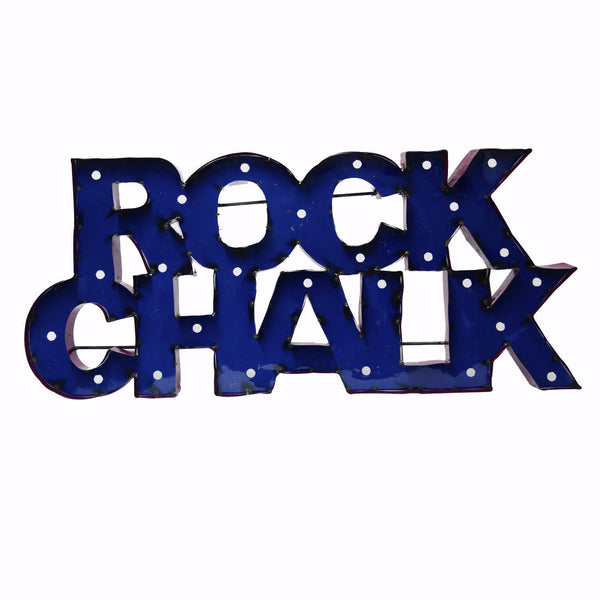 "University of Kansas ""Rock Chalk"" Lighted Recycled Metal Wall Decor"