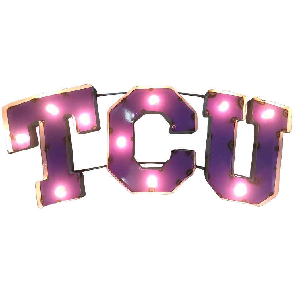 "Texas Christian University ""TCU"" Lighted Recycled Metal Wall Decor"