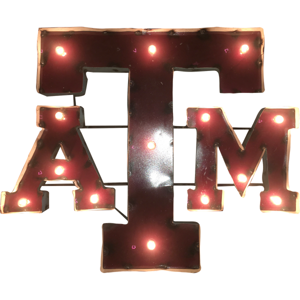 Texas A&M University Logo Lighted Recycled Metal Wall Decor