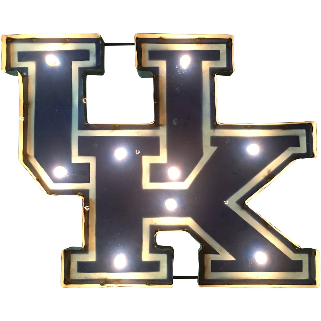"University of Kentucky ""UK"" Lighted Recycled Metal Wall Decor"