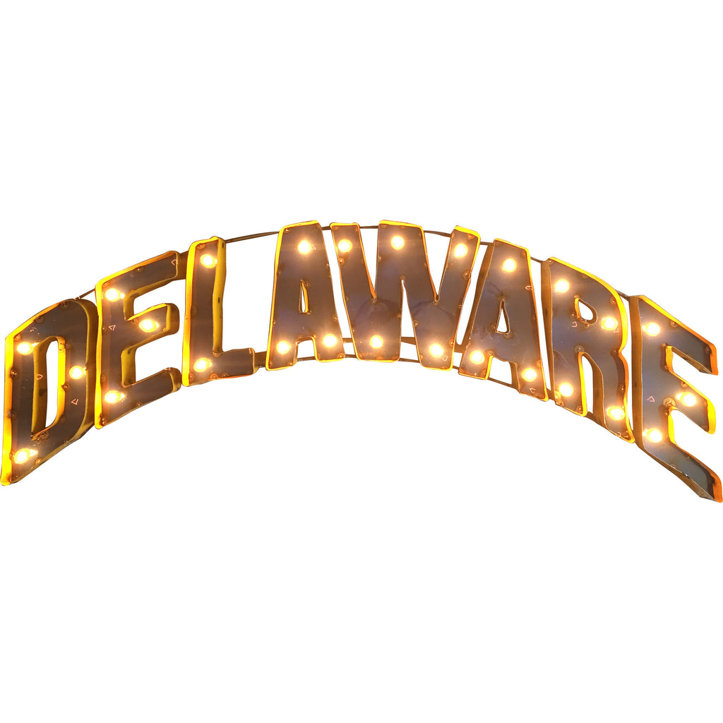 "University of Delaware ""Delaware"" Lighted Recycled Metal Wall Decor"