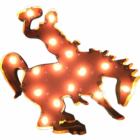 University of Wyoming Mascot Lighted Recycled Metal Wall Decor