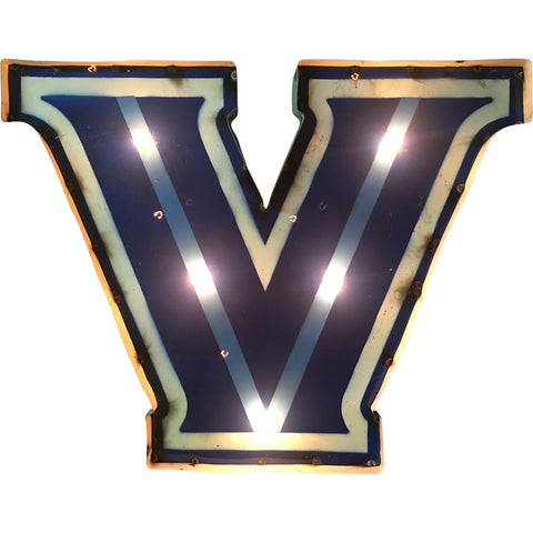 "Villanova University ""V"" Logo Lighted Recycled Metal Wall Decor"