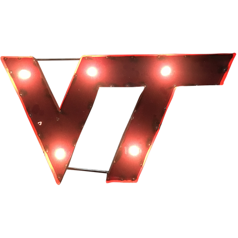 "Virginia Tech ""VT"" Logo Lighted Recycled Metal Wall Decor"